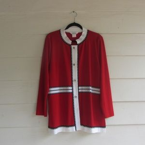 Exclusively Misook Red Button Cardigan Sweater